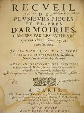 Marcus Vulson de la Colombière - Frontispiece of Vulson de la Colombière's 1639 book