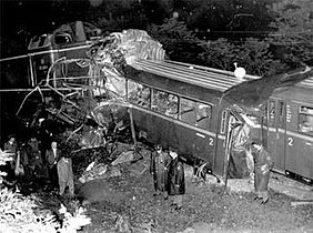 Accident site, showing the destroyed first car of the passenger train.