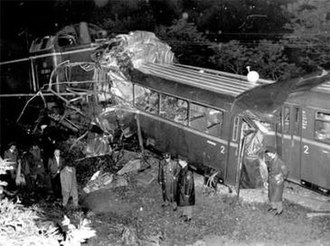 Dahlerau train disaster - Accident site, showing the destroyed first coach of the passenger train.
