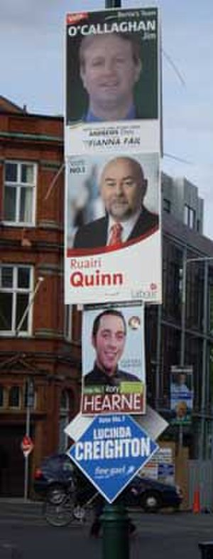 Irish general election, 2007 - Election posters in Dublin South-East during the campaign
