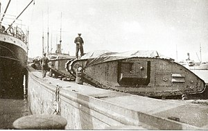 Mark V Composite tank in Estonian service - Image: EST Tanks Mark V Russian Northwestern Army tanks in Tallinn (1919)