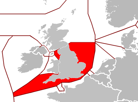 A map of British Isles EEZs and surrounding nations. Internal UK borders are represented by thin lines.