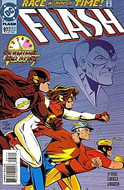 Flash vol. 2, #97 (Jan. 1995), with Bart Allen (Impulse) second from left. Cover by Wieringo.