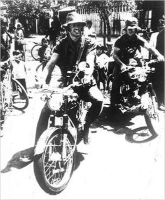 Sean Flynn (photojournalist) - Flynn (left) and Dana Stone (right), riding motorcycles into Communist-held territory in Cambodia on April 6, 1970