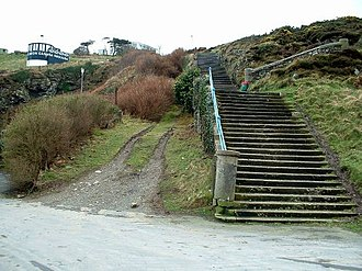 Douglas Head - Lower remnant of the funicular railway which ran alongside the stairs to near the Camera Obscura (upper left)