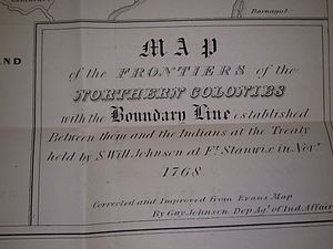 Line of Property - Title block of Guy Johnson's map of the Line of Property 1768