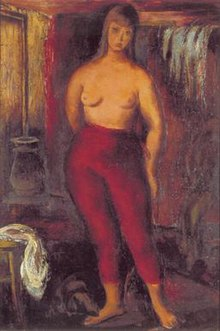 Oil painting of a female model standing in a room facing the viewer, wearing only red tights