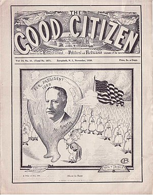 Al Smith - Political cartoon suggesting the Pope was the force behind Al Smith. The Good Citizen, November 1926. Publisher: Pillar of Fire Church, New Jersey.
