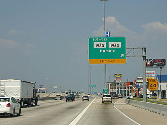 Humble, Texas - The exit ramp for Downtown Humble on Interstate 69/U.S. Route 59