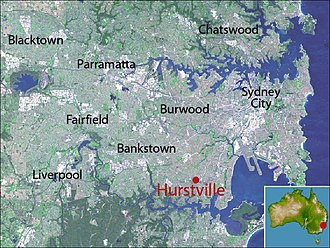 Hurstville, New South Wales - Location map of Hurstville based on NASA satellite images