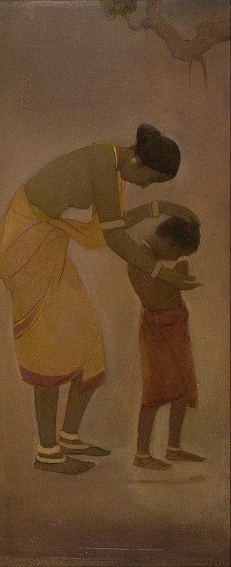 Jamini Roy - Jamini Roy – Mother and Child, oil on canvas, mid 1920. National Gallery of Modern Art collection