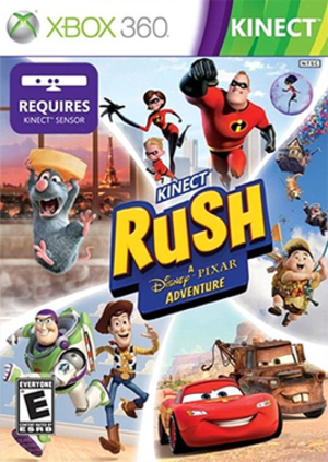 Kinect Rush: A Disney-Pixar Adventure - Original Kinect Rush cover art; the remaster's cover art adds Finding Dory imagery between the Ratatouille and Toy Story portions on the left.