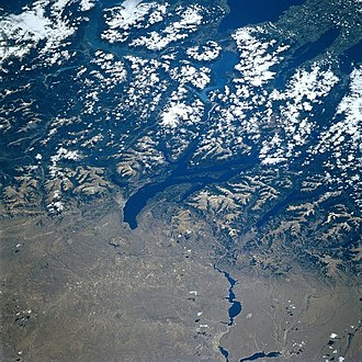 Nahuel Huapi Lake - Lake Nahuel Huapi from space (the elongated, dark feature in the center of the image is the lake and in the bottom is seen the Limay River), North is to the right of the image, 1997.