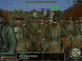 Massively multiplayer online game - World War II Online simulation game showing the numbers of players during a special event in June 2008.  Some 400 people had spawned in for this gathering in this location in the game.