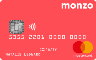 Monzo (bank) - The design for the coral-coloured current account cards.