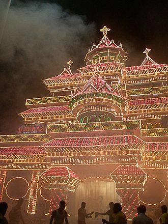 Feast of Saint Raphael, Ollur - Pandal in Ollur Junction made for the annual feast of Saint Raphael
