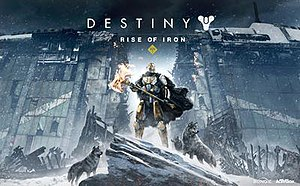 Destiny: Rise of Iron - Cover art featuring Lord Saladin holding the new flaming battle axe, standing before broken city walls.