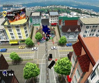 Sonic Adventure 2 - Sonic rides a snowboard and performs tricks in City Escape, the first level of the Hero story in Sonic Adventure 2