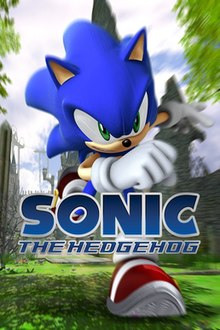 The North American box art of Sonic the Hedgehog, depicting the titular character running in the kingdom of Soleanna. The game's logo is shown in the middle of the box, and the Sega logo is printed on the bottom right hand corner.