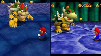 Super Mario 64 DS - Comparison of the graphics from Super Mario 64 DS (left) with those from the original Nintendo 64 version. The greater number of polygons in the DS version allowed for more detailed graphics.
