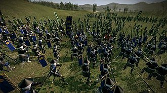 Total War: Shogun 2 - A group of Date yari ashigaru fighting a group of Shimazu samurai in the game's real time battle mode