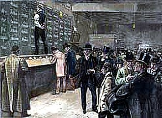 Bucket shop (stock market) - A scene from a bucket shop in 1892.