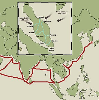 History of Kedah - Map of early Sea Trade Route (in red) and the Early transpeninsula routeways of Malay Peninsula.