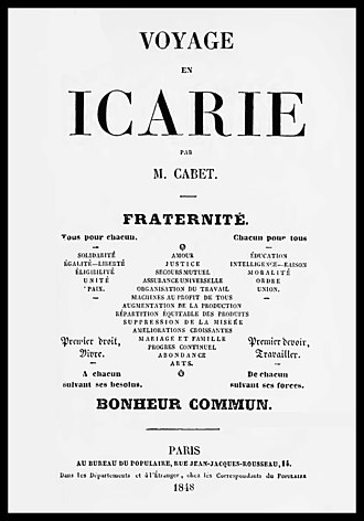 Icarians - Title page of the 1848 Fifth Edition of Cabet's Voyage en Icarie. The symmetrical layout includes a group of slogans summing up Cabet's philosophy.