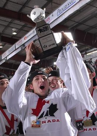 World Junior A Challenge - Canada West's Justin Gvora w/ First ever awarded WJAC Championship Trophy and Medallion (2006)
