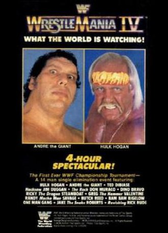 WrestleMania IV - Promotional poster featuring André the Giant and Hulk Hogan