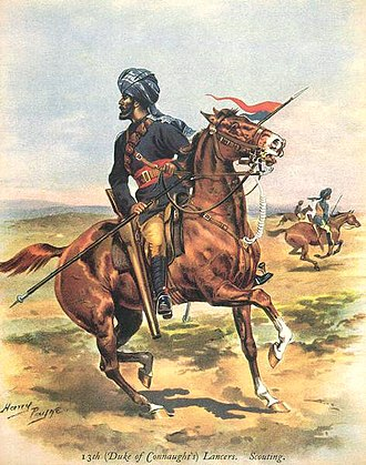 6th Lancers (Pakistan) - 13th (Duke of Connaught's) Bengal Lancers scouting. Painting by Harry Paine, 1890.