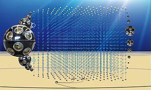 KM3NeT - Artist's impression of the KM3NeT neutrino telescope anchored to the seabed.