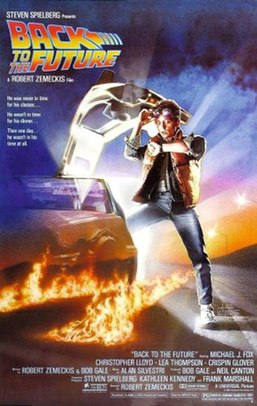 """The poster shows a teenage boy coming out from a nearly invisible DeLorean with lines of fire trailing behind. The boy looks astonishingly at his wristwatch. The title of the film and the tagline """"He was never in time for his classes... He wasn't in time for his dinner... Then one day... he wasn't in his time at all"""" appear at the extreme left of the poster, while the rating and the production credits appear at the bottom of the poster."""