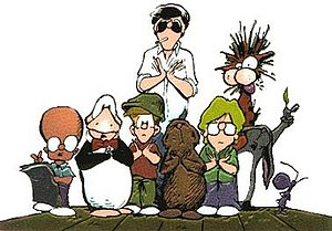 Bloom County - Major characters (from left to right): Oliver, Opus, Binkley, Steve Dallas, Portnoy, Milo, Bill, Hodge Podge, and Milqutoast