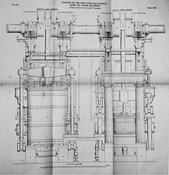 Caird & Company - Drawing of Caird Engine fitted to 1841 steam packets