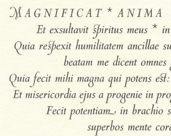 Cancelleresca Bastarda Magnificat detail Stanbrook