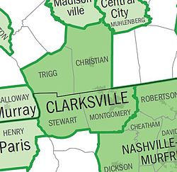 Map of Clarksville area
