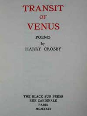 Black Sun Press - Cover from Transit of Venus, poetry written by Harry Crosby and published by Black Sun Press, in 1929.