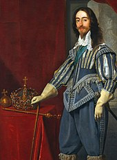 Coronation portrait of Charles I standing next to some of his regalia in front of a red drape.