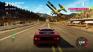 Forza Horizon - Forza Horizon features an updated version of the Forza Motorsport 4 engine. It also features new challenges. Here a Ferrari F40 races a biplane in a point-to-point race.