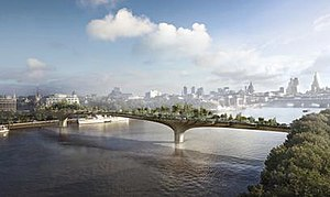 Garden Bridge - Computer rendering of the proposed bridge, underlit at dawn and high tide, created by Arup
