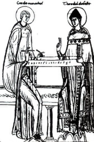 Tedald (bishop of Arezzo) - Guido of Arezzo and Bishop Tedald working on a monochord