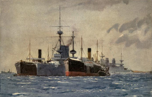 HMS Exmouth (1901) - Exmouth moored at Kephalo in 1915