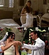 First frame: A blonde with dark skin is holding a white dress. She is standing in a room, and at her right a bed with white bed sheets. Second frame: A couple is dancing. She is wearing a wedding dress while he is wearing a white shirt and a black tie. In the background many people are clapping.