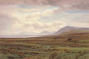 1876 in Ireland - Henry Albert Hartland's 1876 landscape painting On the moors, Achill Island, Co. Mayo, Ireland