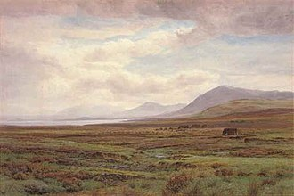 Henry Albert Hartland - On the moors, Achill Island, Co. Mayo, Ireland, Henry Albert Hartland; 1876. Pencil and watercoulor, 26.5 x 39.4 in. / 67.3 x 100.2 cm.