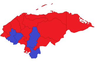 Honduran general election, 2005 - Presidential election results by department: Blue = National Party, Red = Liberal Party