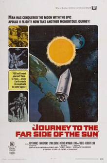 "A bold title at the base of the image reads ""Journey to the Far Side of the Sun"". An image above it depicts two Earths in space, spread apart with the Sun in between, and a spacecraft travelling from one of the planets to its counterpart. Figures in space suits line images to the left of the main picture."