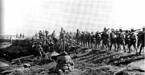 Action of Khan Baghdadi - The 2nd Battalion, 6th Gurkha Rifles of 42nd Indian Brigade, 15th Indian Division march towards the Action of Khan Baghdadi, 22 March 1918