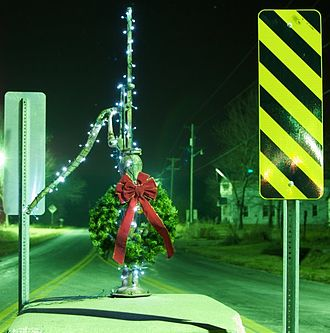 La Russell, Missouri - The La Russell Water Pump decorated at Christmas time, La Russell, Missouri.